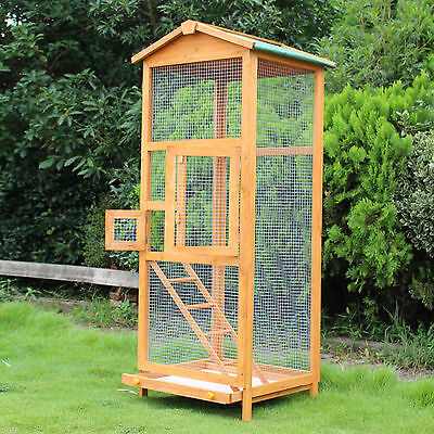 Wooden Cage Home Large Pet Toy Canary Parakeet Aviary Partable
