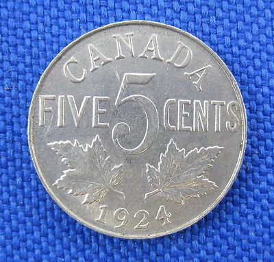 1924 Canada 5 Cent Nickel Coin
