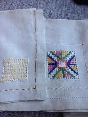 """11 Total SET OF 6 and 5 VINTAGE LINEN TEA NAPKINS Cross Stitch Embroidery 14"""""""