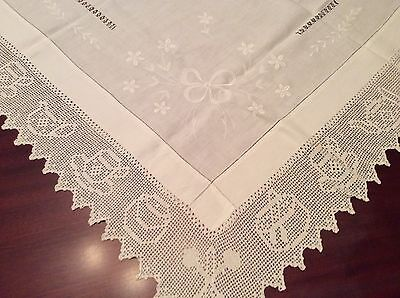 """Tea time design crochet lace tablecloth with whitework embroidery. 42"""" x 42"""""""