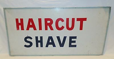"Early 20th Century Folk Art Tin Sign "" HAIRCUT SHAVE """