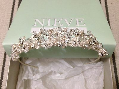 Nieve Courture Lace, Bead and Crystal Tiara
