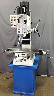 """PM-932M 9""""x32"""" VERTICAL BENCHTOP MILLING MACHINE WITH CAST IRON STAND R8 TAPER"""