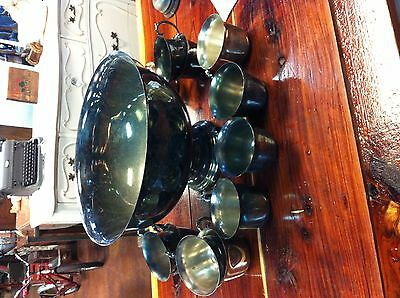 Silver plated Punch Bowl with 12 cups