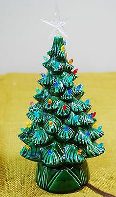"Vintage LIGHTED CERAMIC CHRISTMAS TREE 1978 - SMALL 10"" SIZE MULTI COLOR LIGHTS"