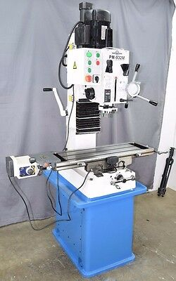 """PM-932M-PDF 9x32"""" VERTICAL BENCHTOP MILLING MACHINE POWER DOWN FEED ON SPINDLE"""