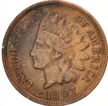 A 1907 USA one cent coin