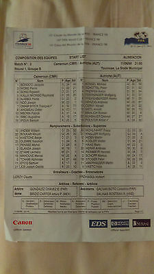 Coloured Teamsheet Cameroon Cameroun-Austria Osterreich World Cup 1998