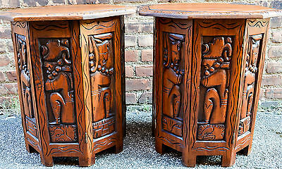 2 Vintage Hand Carved Folding Hard Wood Central American Inca Mayan Side Tables