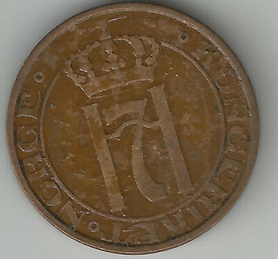 NORWAY / NORGE 5 ORE 1936 coin;