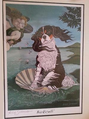 Barkicelli/Paw Palettes Tricolor Cavalier Spaniel Sitting On Clam Shell/G. Kish