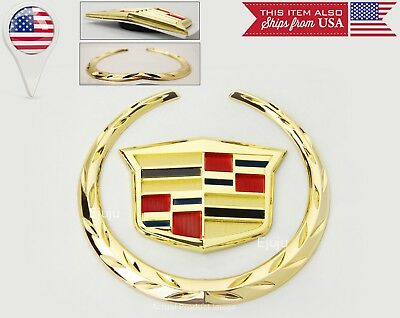 """Cadillac Gold Plated Wreath H: 4"""" Crest H: 2"""" Emblem For Grill + trunk"""