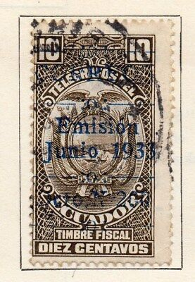 Ecuador 1933-35 Early Issue Fine Used 10c. Optd 113508