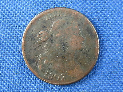 1807/6 U.s Draped Bust Copper Large Cent Coin