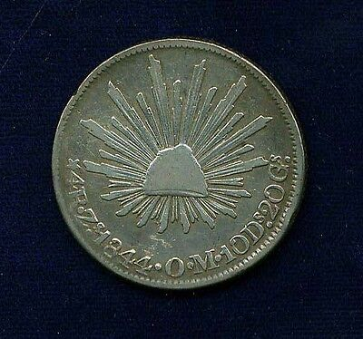 MEXICO ZACATECAS MINT 1844-ZsOM  4 REALES SILVER COIN, VF+