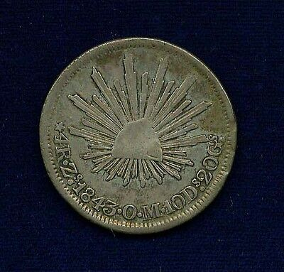MEXICO ZACATECAS MINT 1843-ZsOM  4 REALES SILVER COIN, ALMOST XF