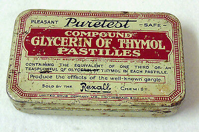 """Vintage Collectable Tin – """"Puretest"""" Compound Glycerine & Thymol Pastilles"""