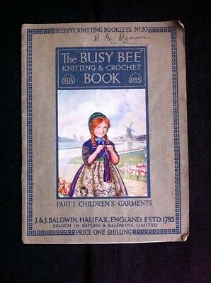 Vintage Busy Bee Knitting & Crochet Book Part 1 Children's  By Marjory Tillotson