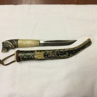 Antique Lappi Lappland / PUUKO Finnish handcarved skinning knife