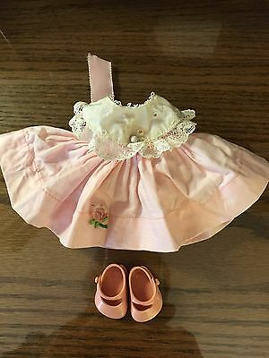 """50's Vogue Ginnette pink dress tagged and shoes labelled 8"""" baby doll lot of 3"""