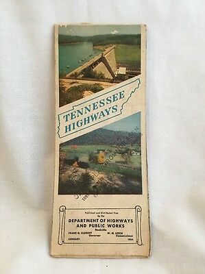 VINTAGE 1953 OFFICIAL Tennessee State Highway Road Map Knoxville Nashville Smoky