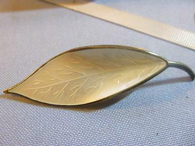 Vintage David Anderson D A Leaf Pin Enamel White Sterling Silver Norway Brooch