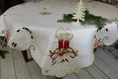 Embroidered large white cream Christmas tablecloth runner placemat bell candle