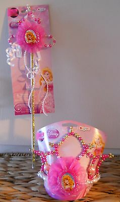 Disney Aurora Tiara Princess Girls Beaded Pink Disguise Crown and Wand Scepter