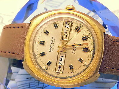 RARE 1960s WALTHAM SELFWINDING AUTOMATIC-LT DAY&DATE INCABLOC VINTAGE MENS WATCH