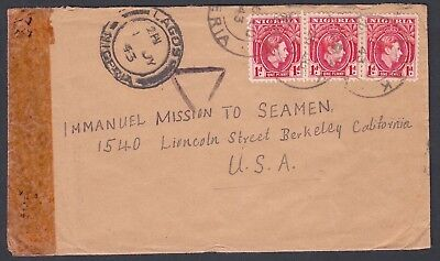 NIGERIA 1940s THREE WWII CENSORED COVERS ABAK UPOBO SAPELE TO USA