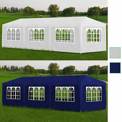 White/Blue Gazebo 3x9m White Party Tent Marquee Folding Canopy Outdoor Wedding