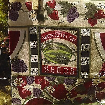 RED CREAM GREEN UNFINISHED HAND MADE WATERMELON QUILT TOP ESTATE grapes