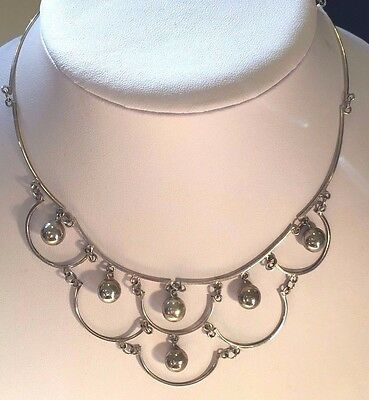 Vintage Mexican Sterling Silver Necklace Bib Design