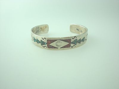 Vintage Sterling Silver Tribal Crushed Turquoise Inlay Cuff Bracelet