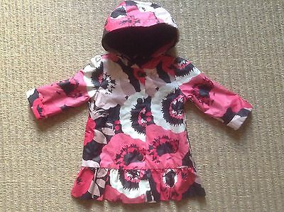 Girls Floral Winter Coat, Jacket, Hooded, Fleece Lined, Waterproof Gap Age 2 Yrs