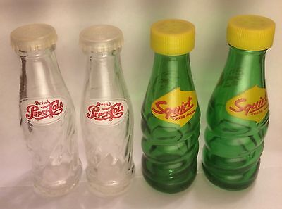 Pepsi Squirt mid-century glass soda bottle salt and pepper shakers