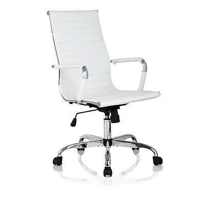 PU Leather Executive Office Chair High Back Ergonomic Computer Desk Task White