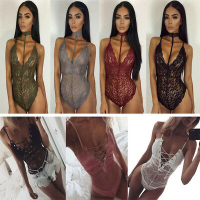 New Women V Neck Sleeveless Bodycon Bandage Bodysuit Jumpsuit Winter Evening New