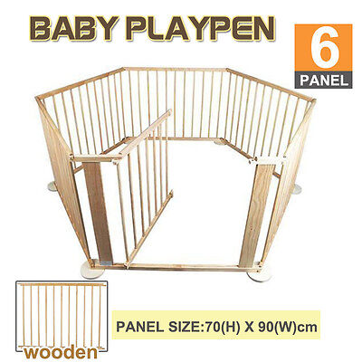 6 Panel Baby Kids Toddler Deluxe Wood Wooden Playpen Divider Safety Gate New