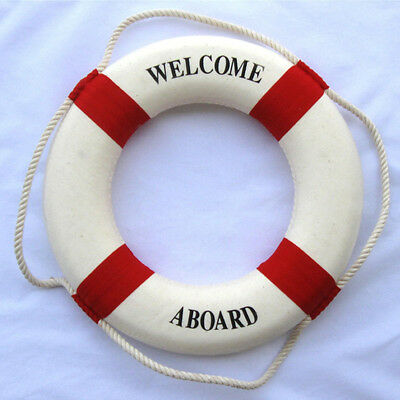 "13.5"" Red & White Welcome Aboard Life Ring Buoy Preserver Float Nautical Decor"