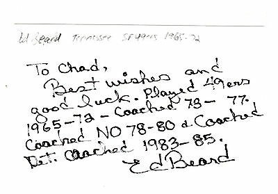 Ed Beard Personalized San Francisco 49Ers Signed Index Card 1965-72 Tennessee
