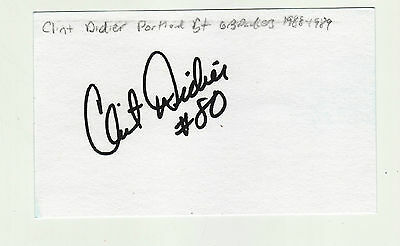 Clint Didier Autographed Green Bay Packers 1988  Index Card Portland State