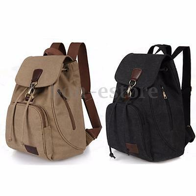 Women Men Canvas Travel Satchel Shoulder Backpack School Rucksack Outdoor Bag