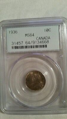 1936 Canada 10 Cent Silver Dime Pcgs Ms64