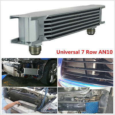 Universal Silver 7 Row AN10 Engine Transmission 248mm Oil Cooler w/ Fittings Kit
