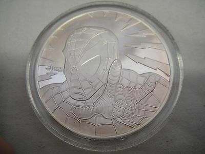 MARVEL SPIDER-MAN SILVER COIN Highland Mint W/BOX AND COA MEDALLION AVENGERS Toy