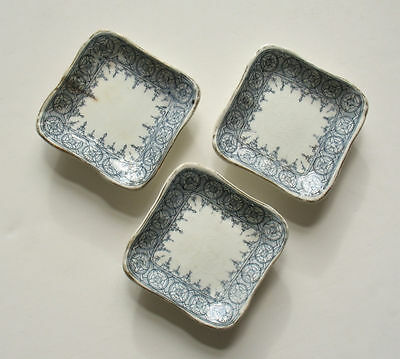 3 Butter Pats John Maddock & Sons Royal Vitreous England Square Blue and White