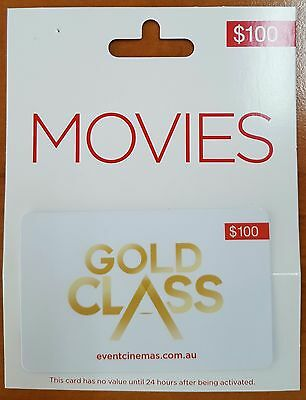 $100 Gold Class Movie Gift Card Voucher - Brand new - valid until October 2017