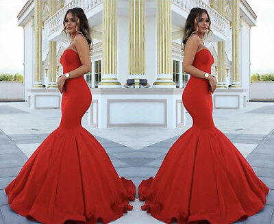 Red Satin Mermaid Sweetheart Evening Dress Formal Party Prom Bridal Gowns Custom