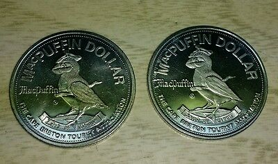 Lot of 2 Macpuffin dollar Cape Breton  tourist coin token expires 1975